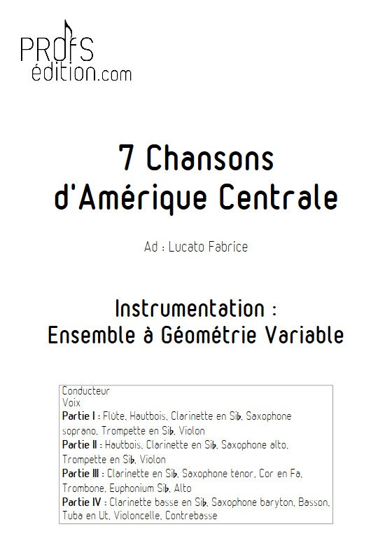 7 Chansons d'Amérique centrale - Ensemble Variable - TRADITIONNEL - page de garde