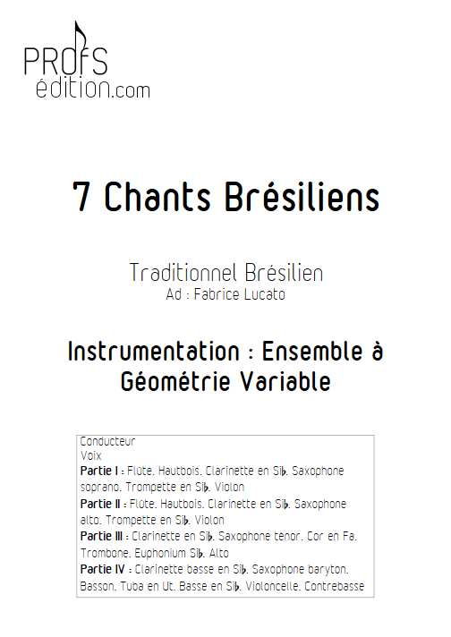 7 chants brésiliens - Ensemble Variable - TRADITIONNEL - page de garde