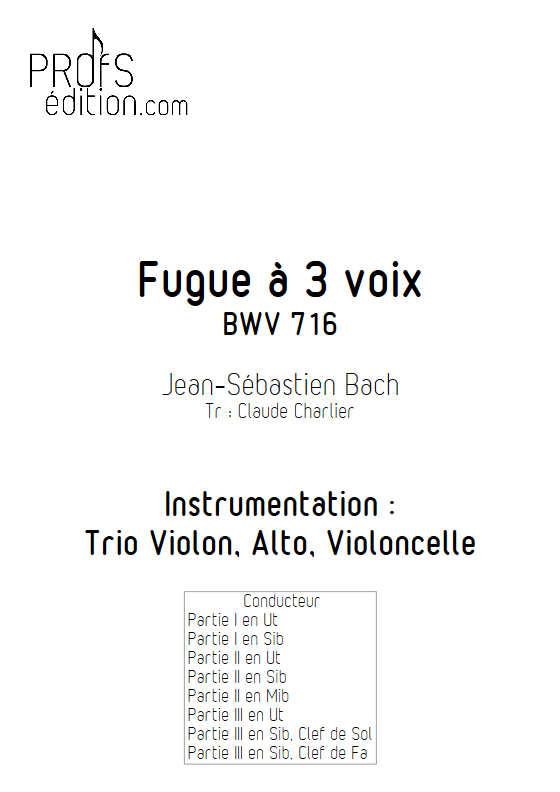 Choral BWV 716 - Trio - BACH J. S. - page de garde