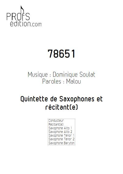 78651 - Quintette de Saxophones - SOULAT D. - page de garde