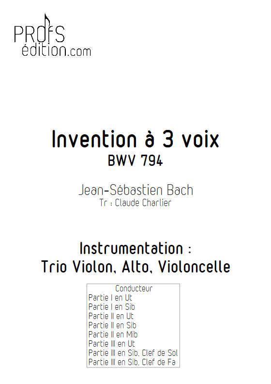 Invention BWV 794 - Trio - BACH J. S. - page de garde