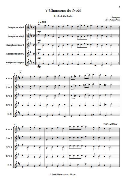 7 Chansons de Noël - Quintette de Saxophones - TRADITIONNEL - Partition