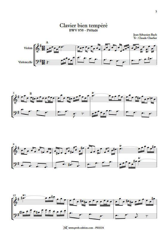 Prelude BWV 858 Clavier bien tempéré - Duo violon violoncelle - BACH J. S. - app.scorescoreTitle