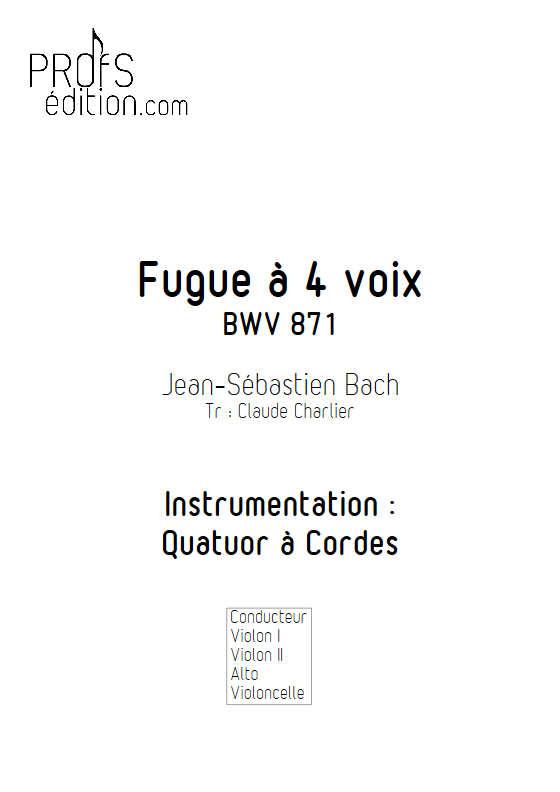 Clavier bien tempéré BWV 871 - Quatuor à Cordes - BACH J. S. - page de garde