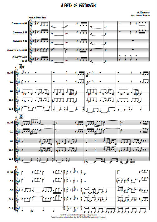 A Fifth of Beethoven (Saturday Night Fever) - Quintette Clarinettes - MURPHY W. - Partition