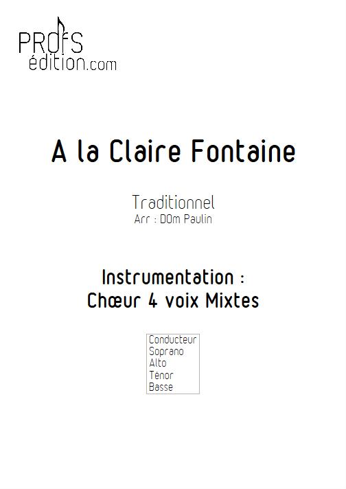 A la Claire Fontaine (version Québécoise) - 4 voix mixtes - TRADITIONNEL - page de garde
