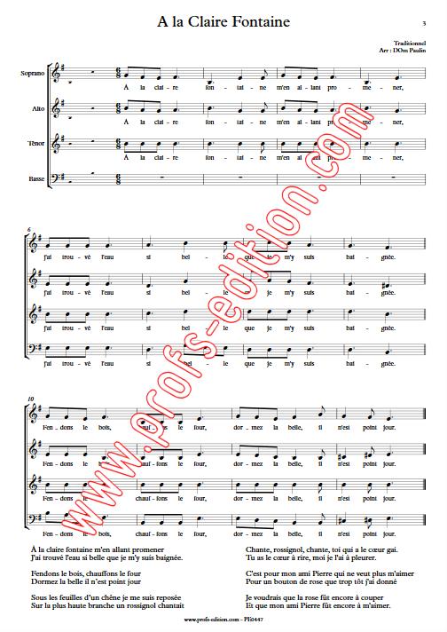 A la Claire Fontaine (version Québécoise) - 4 voix mixtes - TRADITIONNEL - Partition