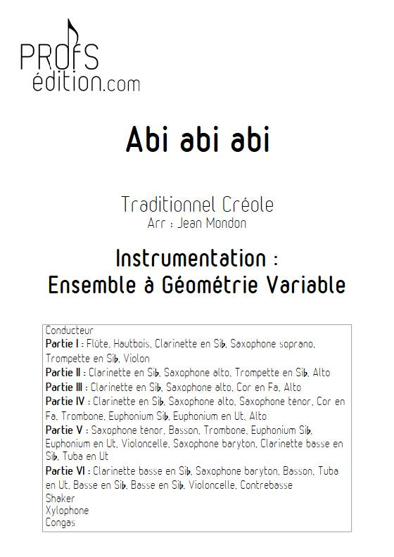 Abi abi abi - Ensemble Variable - TRADITIONNEL CREOLE - page de garde