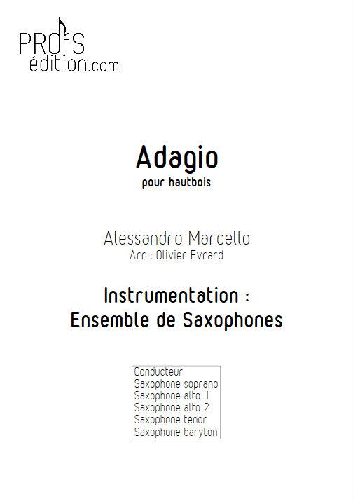 Adagio - Ensemble de Saxophones - MARCELLO A. - page de garde