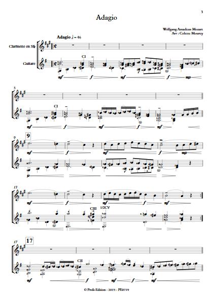Adagio - Clarinette et Guitare - MOZART W. A. - Partition