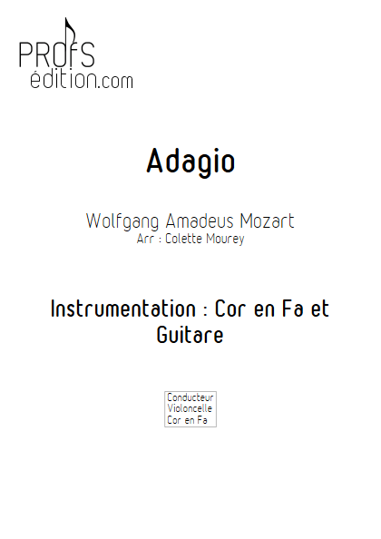Adagio - Cor d'harmonie et Guitare et Guitare - MOZART W. A. - page de garde