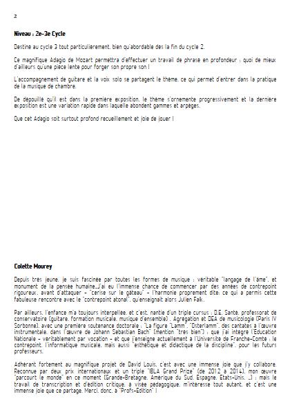 Adagio - Hautbois et Guitare et Guitare - MOZART W. A. - Fiche Pédagogique