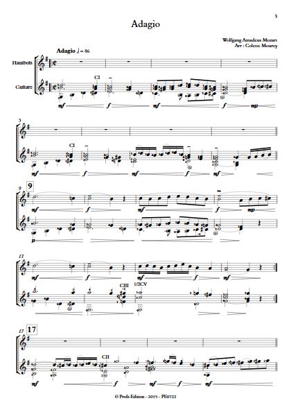 Adagio - Hautbois et Guitare et Guitare - MOZART W. A. - Partition