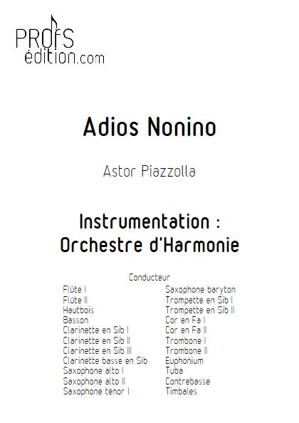 Adios Nonino - Orchestre d'Harmonie - PIAZZOLLA A. - page de garde