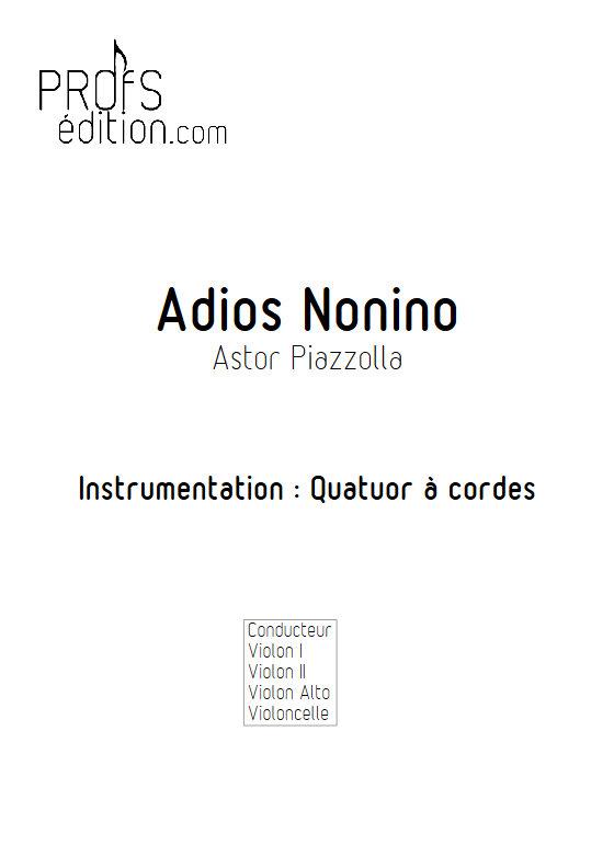 Adios Nonino - Quatuor à Cordes - PIAZZOLA A. - Partition