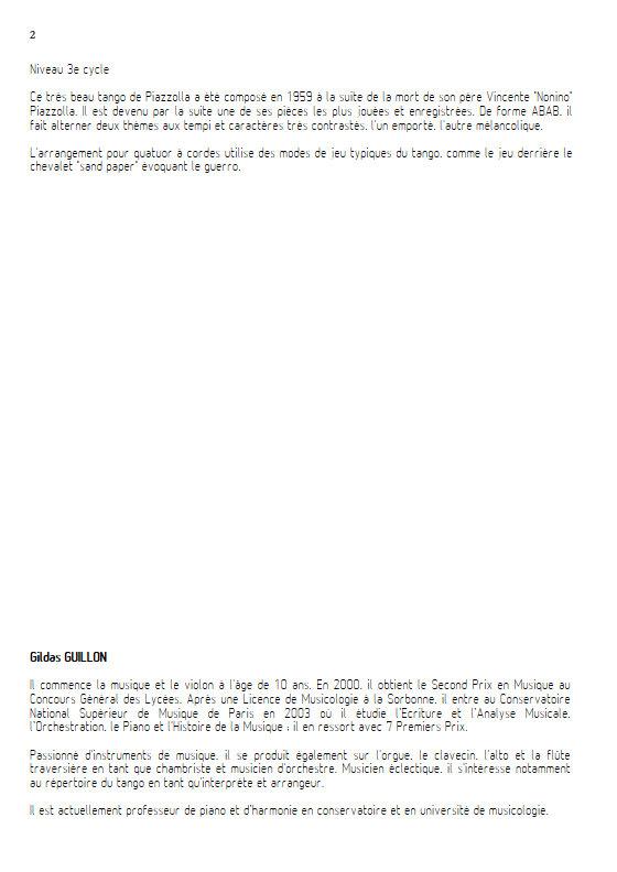 Adios Nonino - Quatuor à Cordes - PIAZZOLA A. - Fiche Pédagogique