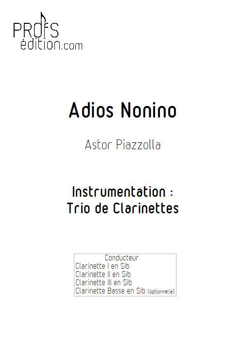 Adios Nonino - Trio de Clarinettes - PIAZZOLA A. - page de garde