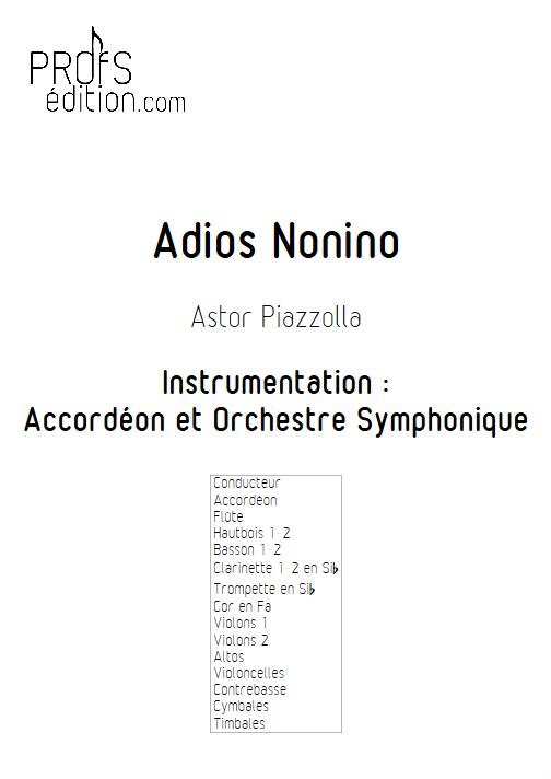 Adios Nonino - Accordéon et Orchestre Symphonique - PIAZZOLLA A. - page de garde