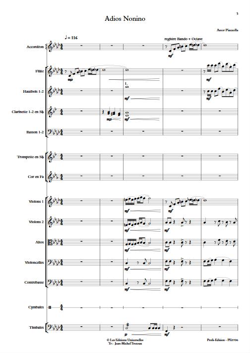 Adios Nonino - Accordéon et Orchestre Symphonique - PIAZZOLLA A. - app.scorescoreTitle