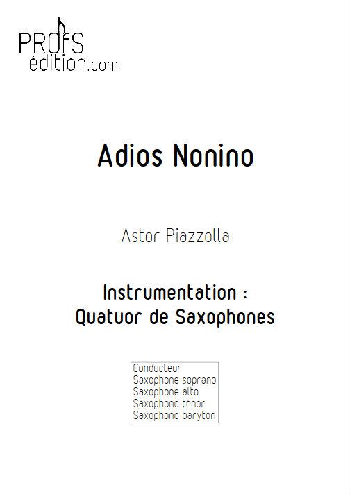 Adios Nonino - Quatuor de Saxophones - PIAZZOLLA A. - page de garde