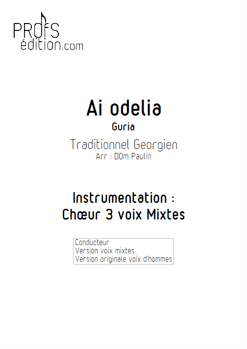 Ai Odelia - 3 voix mixtes - TRADITIONNEL - page de garde