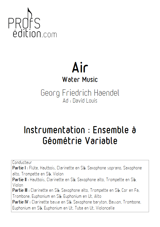 Air - Water Music - Ensemble à Géométrie Variable - HAENDEL G. F. - page de garde