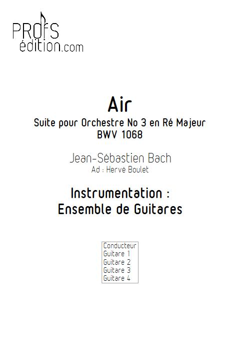 Air de Bach - BWV 1068 - Ensemble de Guitares - BACH J. S. - page de garde