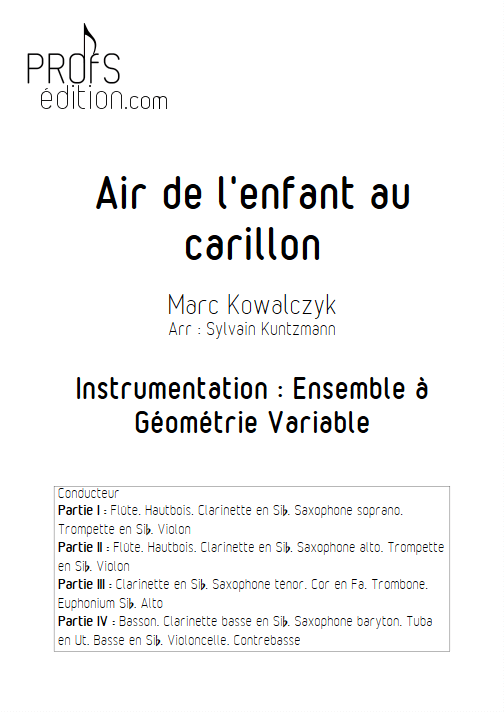 Air de l'enfant au Carillon - Ensemble à Géométrie Variable - KOWALCZYK M. - page de garde