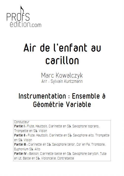 Air de l'enfant au Carillon - Ensemble à Géométrie Variable - KOWALCZYK M. - page de garde