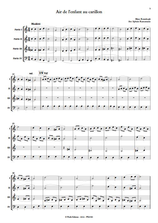Air de l'enfant au Carillon - Ensemble à Géométrie Variable - KOWALCZYK M. - Partition