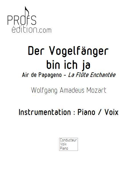 Air de Papageno, Der Vogelfänger bin ich ja - Piano Voix - MOZART W. A. - page de garde