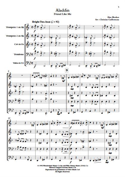 Aladdin (Je suis ton meilleur Ami) - Quintette de Cuivres - MENKEN A. - Partition