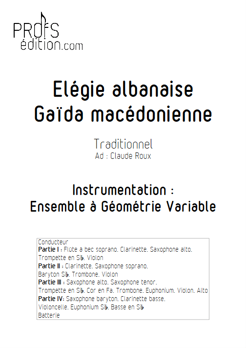 Elégie Albanaise - Ensemble à Géométrie Variable - TRADITIONNEL - page de garde