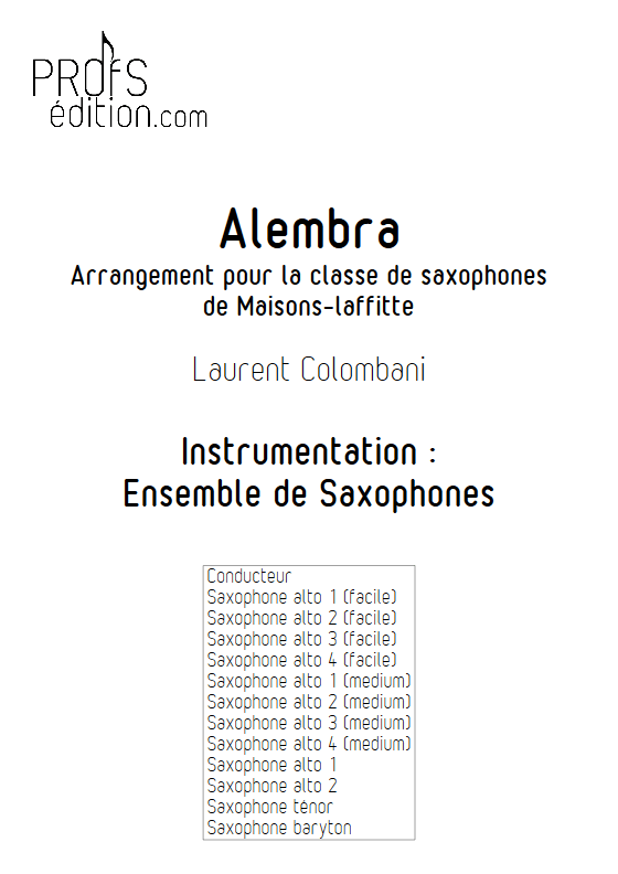 Alembra - Ensemble de Saxophones - COLOMBANI L. - page de garde