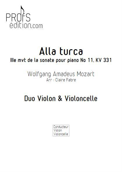 Alla Turca - Duo Violon & Violoncelle - MOZART W. A. - page de garde