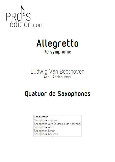 Allegretto 7e symphonie - Quatuor de Saxophones  - BEETHOVEN L. V. - page de garde