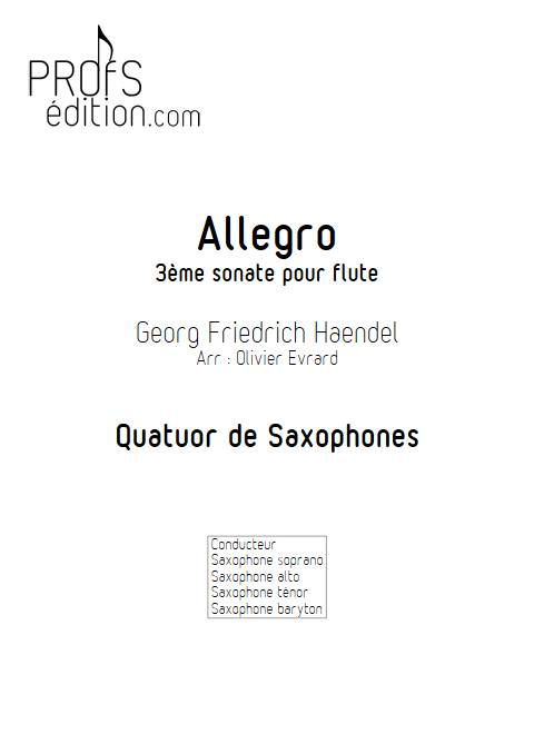 Allegro de la 3ème sonate pour flute - Quatuor de Saxophones - HAENDEL G. F. - page de garde
