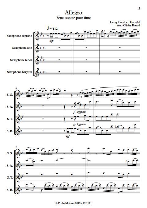 Allegro de la 3ème sonate pour flute - Quatuor de Saxophones - HAENDEL G. F. - Partition
