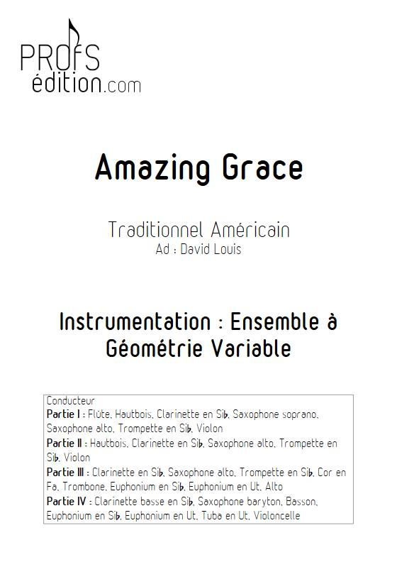 Amazing Grace - Ensemble Variable - TRADITIONNEL AMERICAIN - page de garde