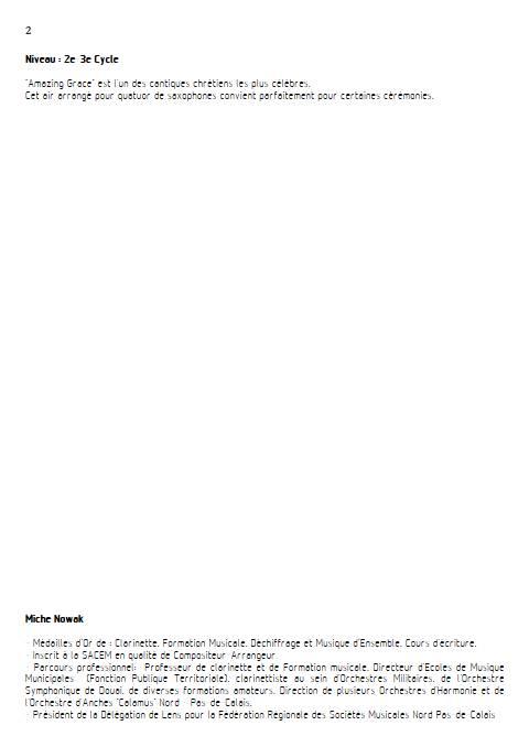 Amazing Grace - Quatuor de Saxophones - TRADITIONNEL AMERICAIN - Fiche Pédagogique