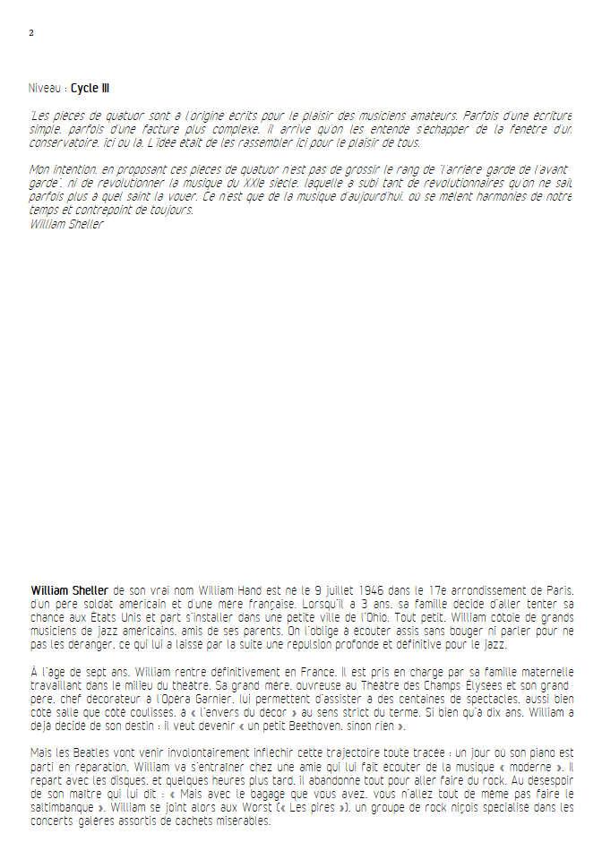 Ambre Ballade - Quatuor à Cordes - SHELLER W. - Fiche Pédagogique