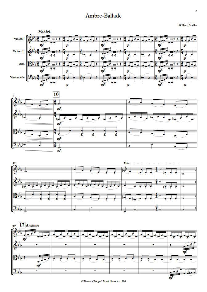Ambre Ballade - Quatuor à Cordes - SHELLER W. - Partition