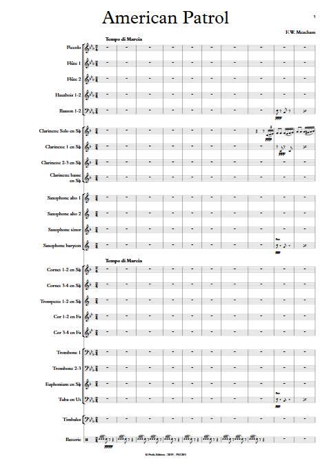 American Patrol - Orchestre d'Harmonie - MEACHAM F.W. - Partition