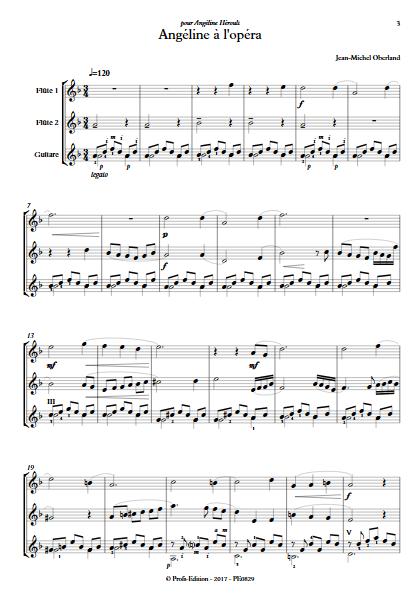 Angéline à l'Opéra - 2 flûtes et Piano - OBERLAND J. M. - Partition