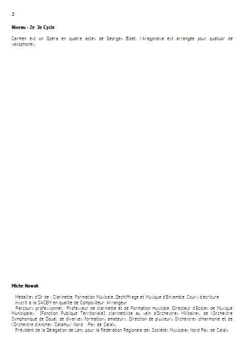 Aragonaise - Quatuor de Saxophones - BIZET G. - Fiche Pédagogique