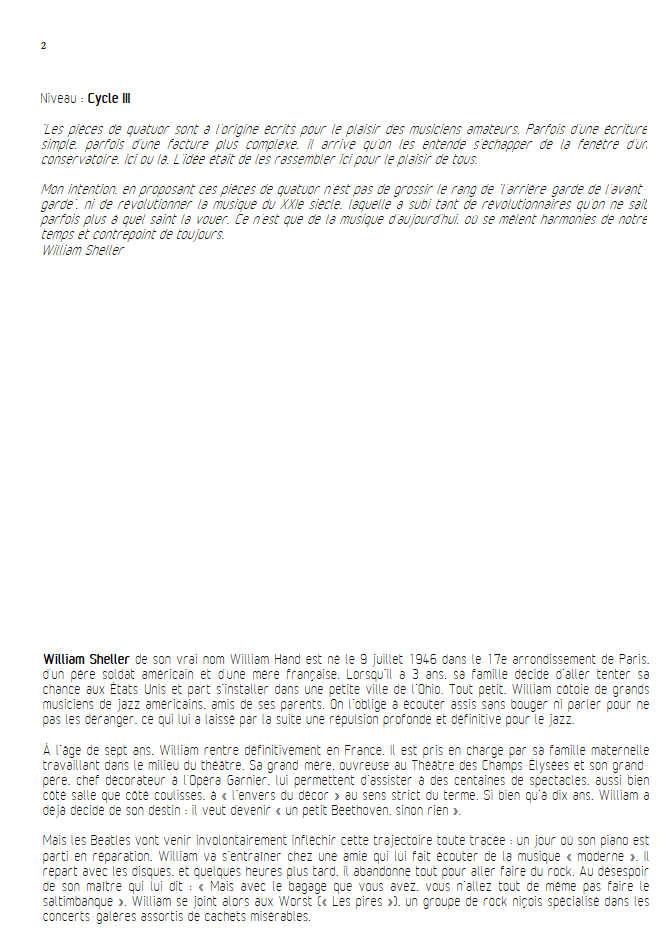 Aria Klein - Quatuor à Cordes - SHELLER W. - Fiche Pédagogique