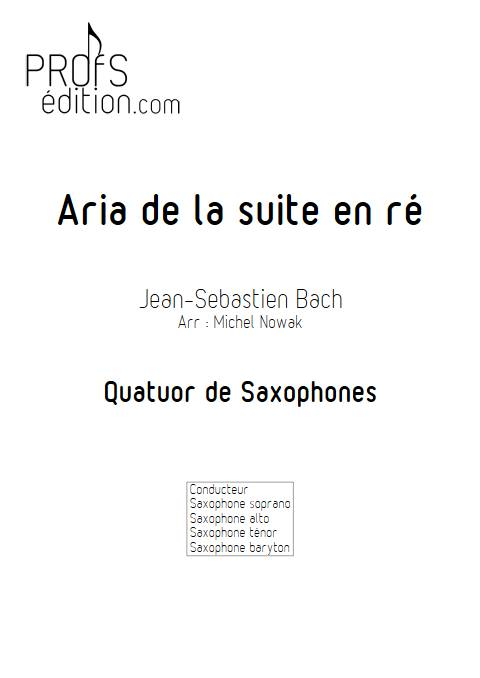Aria suite en ré - Quatuor de Saxophones - BACH J. S. - page de garde