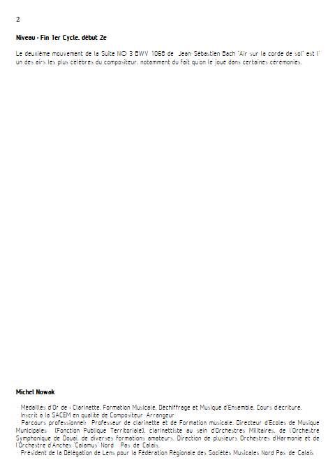 Aria suite en ré - Quatuor de Saxophones - BACH J. S. - Fiche Pédagogique