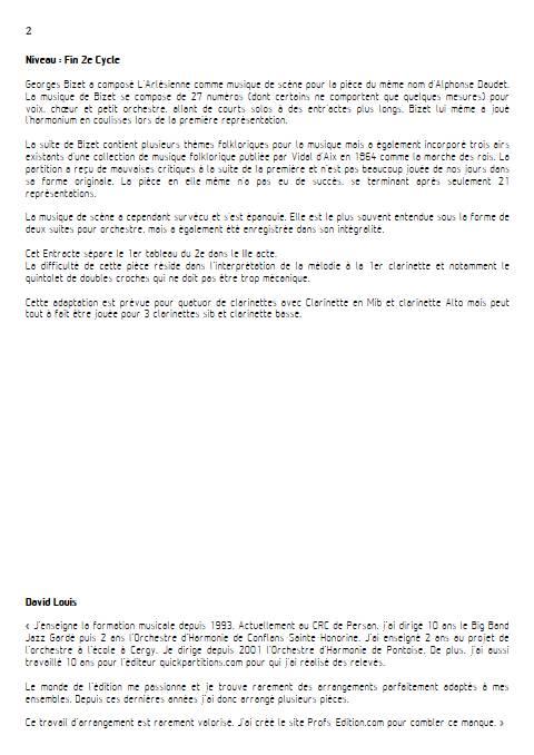 Entr'acte Arlesienne - Quatuor de Clarinettes - BIZET G. - Fiche Pédagogique