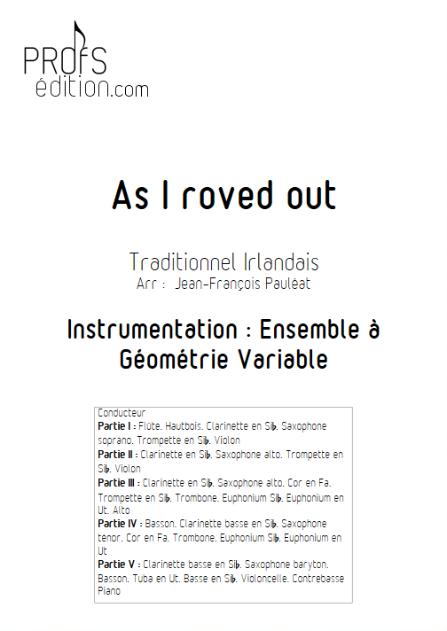 As I roved out - Ensemble à Géométrie Variable - TRAD. IRLANDAIS - page de garde
